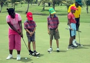 Group of junior golfers at Barbados Golf Club