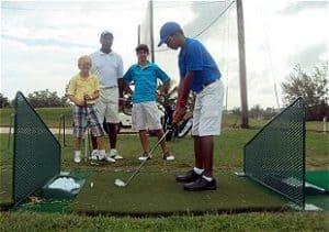 Coaching junior golfers at Barbados Golf Club